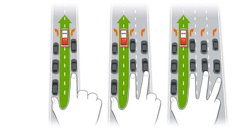 Daumenregel bei der Bildung einer Rettungsgasse im Straßenverkehr